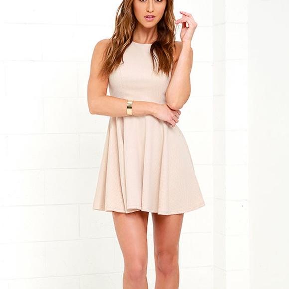 Lulu's Gal About Town beige skater dress